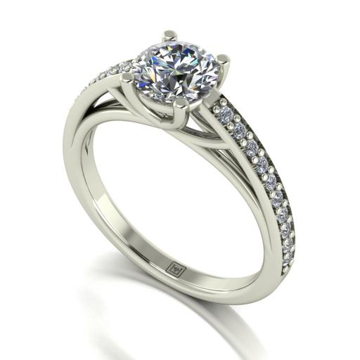 6.5mm Round Brilliant Moissanite Solitaire Ring with Moissanite Set Shoulders