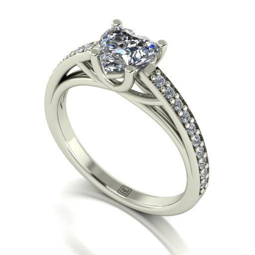 6.5mm Heart Shaped Moissanite Engagement Ring with Moissanite Set Shoulder